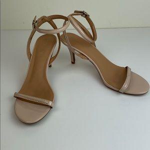 Report shiny nude ankle strap minimalist heels 9.5